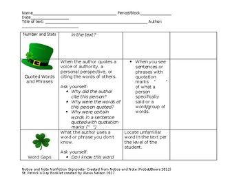 St. Patrick's Day Notice and Note Nonfiction Signposts With Text/Symbol Cards