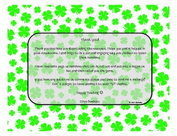 St. Patrick's Day Number Bingo 1-20