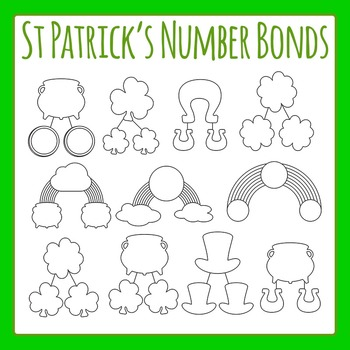St Patrick's Day Number Bonds Clip Art for Commercial Use