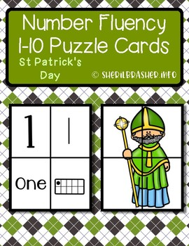 St Patrick's Day Number Fluency Puzzle Cards | English | 1-10