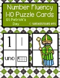 St Patrick's Day Number Fluency Puzzle Cards | Spanish | 1-10