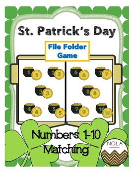 St. Patrick's Day Number Matching File Folder Game