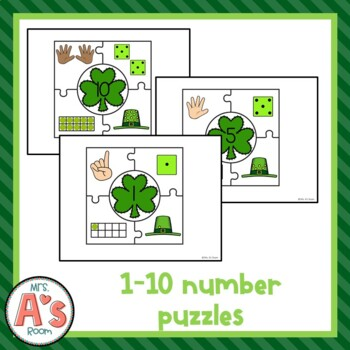 St. Patrick's Day Number Matching Puzzles Busy Box