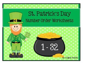 St. Patrick's Day ~ Number Order Worksheets 1-32