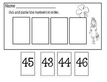 St. Patrick's Day ~ Number Order Worksheets 31-62