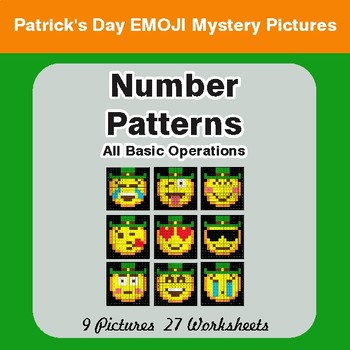 St. Patrick's Day: Number Patterns: Misc Operations - Math Mystery Pictures
