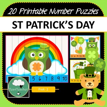 St Patrick's Day Number Puzzles - 20 St Paddys Number Puzzles 1-10+Skip Counting