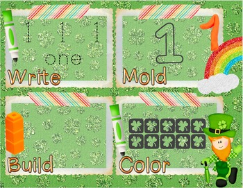 St. Patrick's Day Number Recognition 0-10 Math Center-Write, Mold, Build, Color