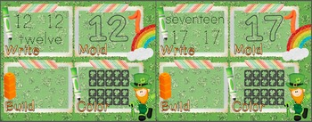 St. Patrick's Day Number Recognition 11-20 Math Center-Write, Mold, Build, Color