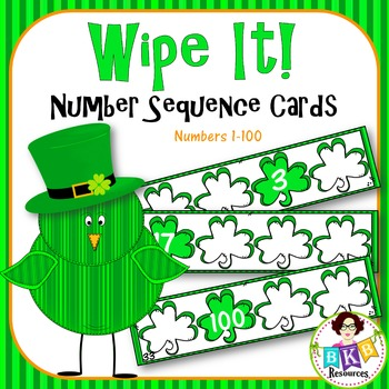 St. Patrick's Day Number Sequence Wipe It Cards!