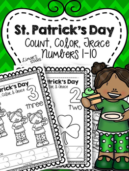 St. Patrick's Day Numbers 1-10: Count, Color, & Trace