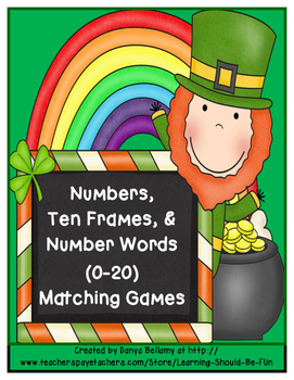 St. Patrick's Day Numbers, Ten Frames, Number Words (0-20) Matching Game