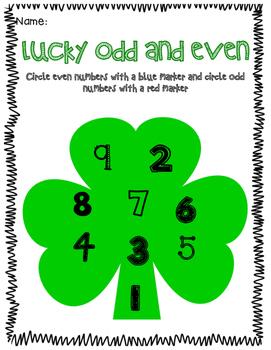 St. Patrick's Day Odd and Even Pracrice - no prep!