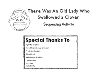 St Patrick's Day - Old Lady Who Swallowed A Clover Sequencing