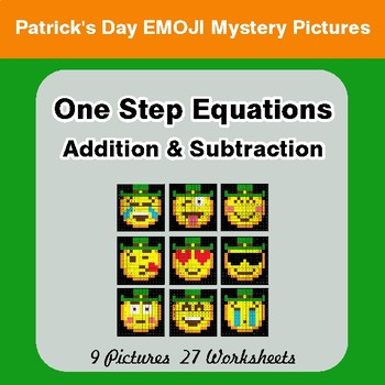 St Patrick's Day: One Step Equations - Addition & Subtraction Math Mystery Pictures