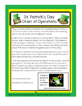 St. Patrick's Day-Order of Operations