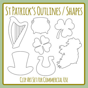 St Patrick's Day Outlines / Shapes Templates Clip Art Set for Commercial Use