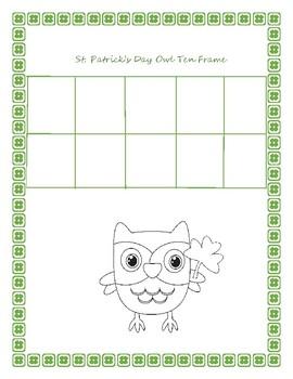 St. Patrick's Day Owl Themed Ten Frame