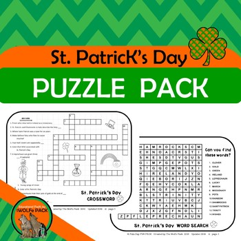 St Patrick's Day PUZZLE PACK easy, educational way to sneak in St Pat's Day fun