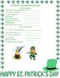 St. Patrick's Day Party Sign Up Sheet