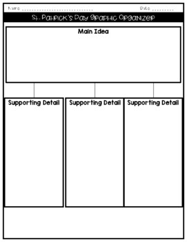 St. Patrick's Day Reading Passage, Graphic Organizer and Writing Prompt