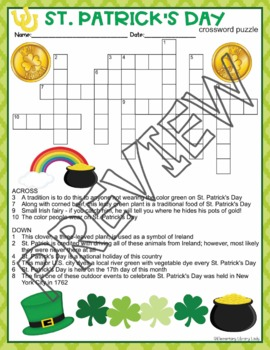 St. Patrick's Day Activities Patricks Crossword Puzzle and Word Search Find