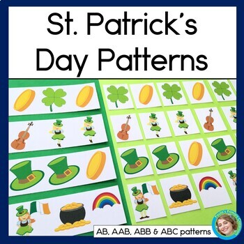 St. Patrick's Day Patterns Math Center with AB, ABC, AAB & ABB patterns