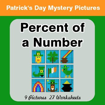 St Patrick's Day: Percent of a Number - Color-By-Number Mystery Pictures