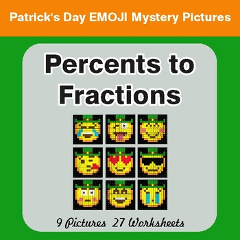 St. Patrick's Day: Percents to Fractions - Color-By-Number Math Mystery Pictures