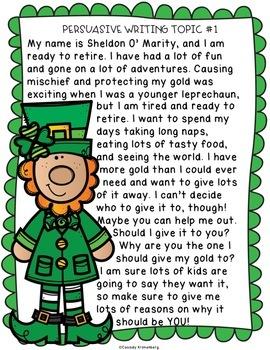 St. Patrick's Day Persuasive Writing {Opinion Writing}