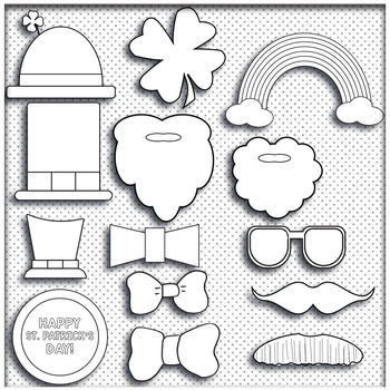 St. Patrick's Day Coloring Activity Photo Booth Props