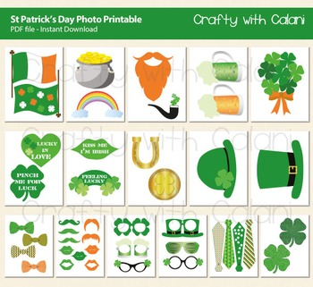 St Patrick's Day Photo Booth Props, Irish Themed Printable,43 ready print images