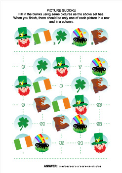 St. Patrick's Day Picture Sudoku Puzzle, Commercial Use Allowed
