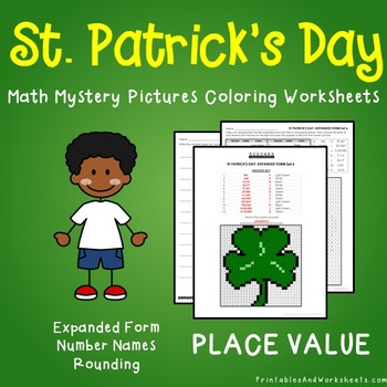 St. Patrick's Day Place Value Coloring Worksheets
