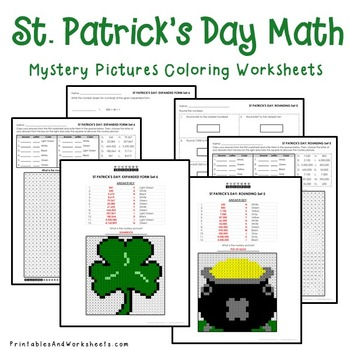 Mystery Pictures (Place Value), St. Patrick's Day Place Value Coloring Sheets