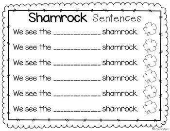 St. Patrick's Day Pocket Chart Sentences and Emergent Reader