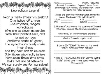 St. Patrick's Day Poetry and Writing FREEBIE