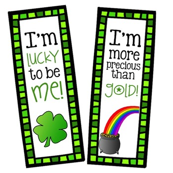 St. Patrick's Day Positive Affirmation Bookmarks - Elementary School Counseling