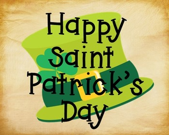St. Patrick's Day Poster, Class Decor, Holiday Sign, Bulletin Board