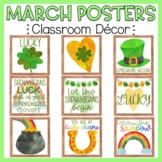 St. Patrick's Day Posters March Classroom Posters Bulletin Board