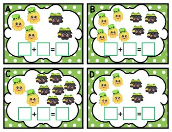 St. Patrick's Day Pot of Gold Cuties Picture Addition to 10 Kindergarten Math