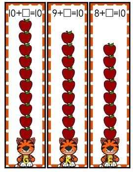 Tiger's Ten Apples Addition Making 10 Kindergarten First Math Center