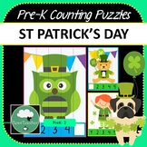 St Patrick's Day Pre-K Counting Puzzles - Number Puzzles 1-10 + Missing Numbers