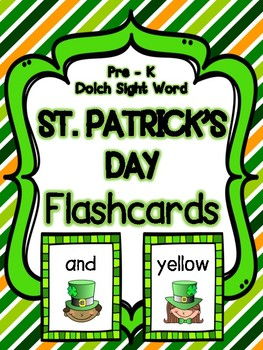 St. Patrick's Day Pre-Kindergarten Dolch Sight Word Flashcards