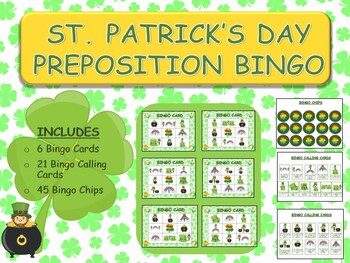 St. Patrick's Day Preposition Bingo