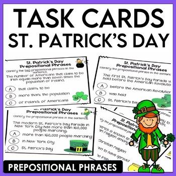 St. Patrick's Day Prepositional Phrases Task Cards