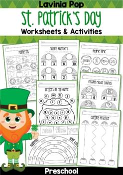 St. Patrick's Day Preschool No Prep Worksheets & Activities