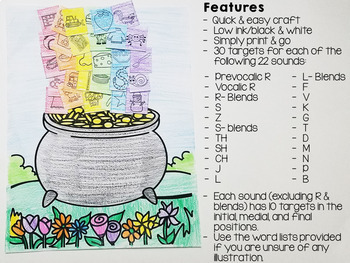 St. Patrick's Day Print & Go Articulation Craft - Speech Therapy Activity