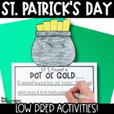 Kindergarten First Grade St. Patrick's Day Printables and Activities