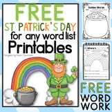 St. Patrick's Day Printables for any Word List FREEBIE